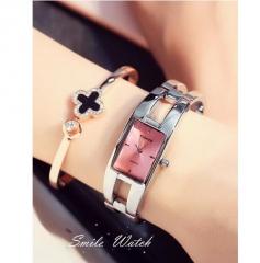 Brand simple and generous fashion square lady quartz bracelet watches pink