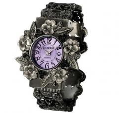 new fashion Women Stainless Steel Quartz Bangle Wrist Watch Purple Purple