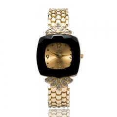 New diamond flower - shaped fashion quartz student bracelet women 's watches black