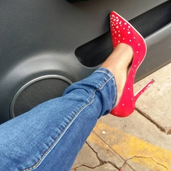 Red velvet  stilettos with gliter red 38