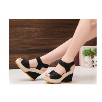 New explosion network bookeen sexy mouth shoes wedge sandals black women's sandals Black 40
