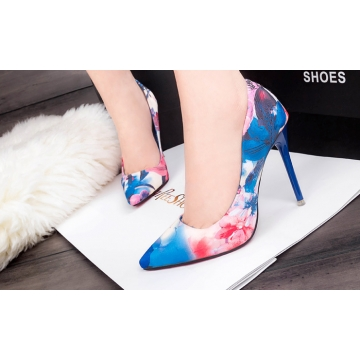 The new shallow mouth sexy thin elegant with floral pointed high heels shoes blue 36