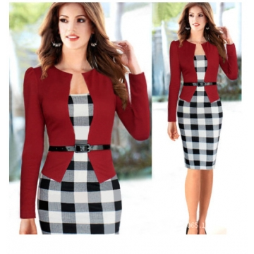 Fake two pieces of splicing was thin dress with belt MF3311 red-big grid 3xl