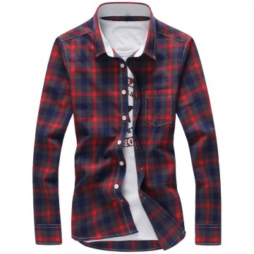 Fashion Camisa Masculina Plus Size Casual Men Shirts62064 red m
