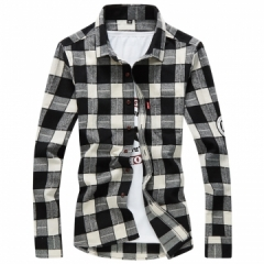 Men Shirt Long Sleeve Slim Fit Plaid Shirt Men High Quality Cotton Mens Dress Shirts Men Clothes1231 black m