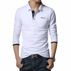 Casual polo shirt letter print long-sleeve men's polos new arrival brand polo shirts man hot-sale white m