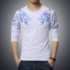 high-end men's brand t-shirt fashion Slim Dragon printing atmosphere t shirt long-sleeved t shirt white m