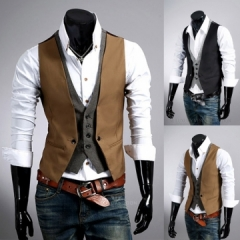 2017 men's fashion casual leave two vest / male slim buttons decorative suit Khaki 2xl