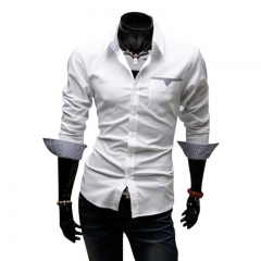 Men Shirt For Autumn Casual Fashion Male Shirts Long Sleeve Cotton Solid Men Business Casual Social white m