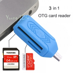 3 In 1- Universal Card Reader-Micro USB Flash OTG TF / SD memory For Phone Computer black otg up to 128g