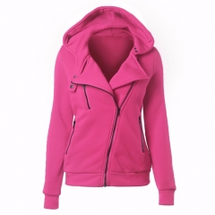 2017 new hot selling women's dress coat leisure pure color four-color slanted zipper hoodie Red XL