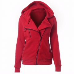 2017 new hot selling women's dress coat leisure pure color four-color slanted zipper hoodie Larde red S
