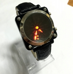 Unisex PU Digital with Pointer LED Wrist Watch (Black) black