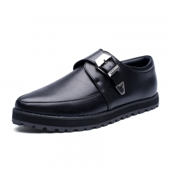 Mens Casual Luxury Brand Flats Genuine Leather Pointed Toe Formal Dress Monk Black 39