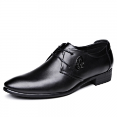 Genuine Leather Men Shoes High Quality Lace-Up Business Derby Shoes black 37