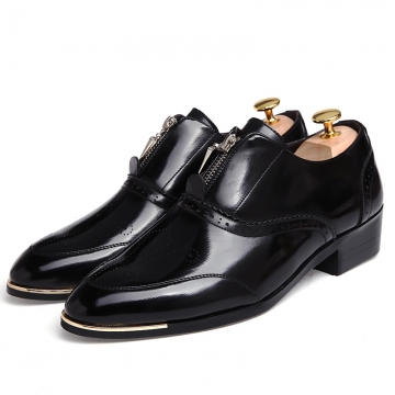 British Style High Quality Carved Patent Leather Flat Heels Color Matching Lace-Up black 43
