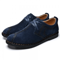 Italian Shoes Man Flats Shoes Fashion Suede Anti Slip Lace-Up Oxford blue 38