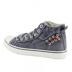 Men Women Shoe High Top Jeans Denim Canvas Couples Lace Up Shoes Male Flat Fat Convenient Cool grey 40