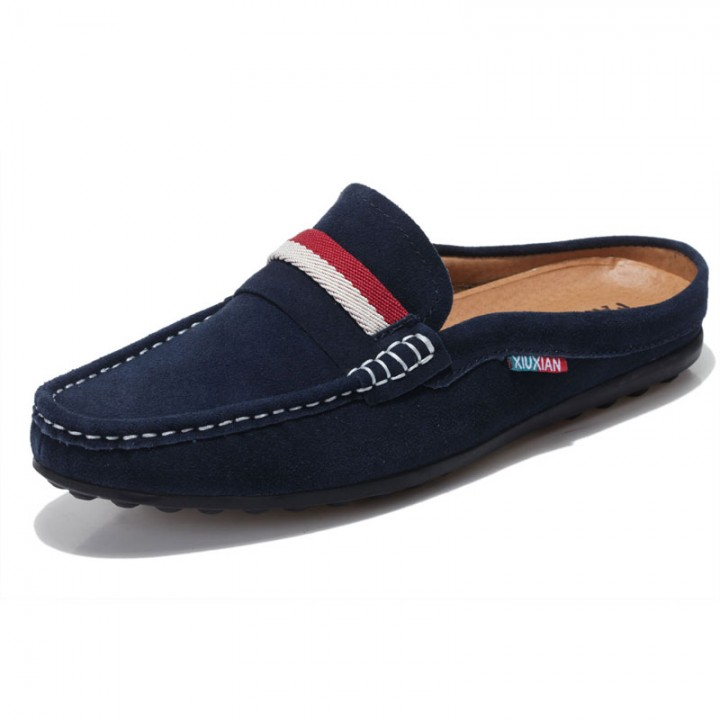 Suede Backless Loafers Open Backs Shoes Velvet Cut Breathable Leather Driving Soft Comfy Burgundy blue 39