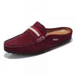 Suede Backless Loafers Open Backs Shoes Velvet Cut Breathable Leather Driving Soft Comfy Burgundy purple 38