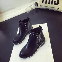 Platform Rain Boots Ladies Rubber Ankle Boots Low Heels Women Boots Slip On Flats Shoes Woman Plus black 39