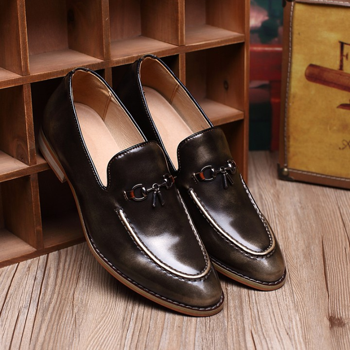 up-to-datestyling save off modern design Classic Men Dress Shoes Genuine Leather Texture Wine Red Casual Low Cut  Business Shoes Wedding Flats black 42