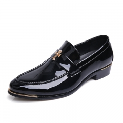 Classic Men Dress Shoes Genuine Leather Texture Wine Red Shiny Low Cut Business Shoes Wedding Flats black 38