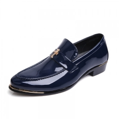 Classic Men Dress Shoes Genuine Leather Texture Wine Red Shiny Low Cut Business Shoes Wedding Flats blue 43