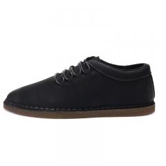 Genuine Leather Men Casual Shoes 2017 Fashion Walking Men Shoes Lace Up black 39