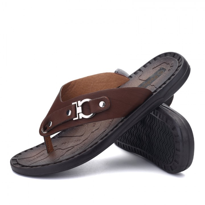 4770fb1357d27 2017 Men Sandals Shoes Slippers Summer Flip Flops Beach Men Shoes Leather  dark brown 44