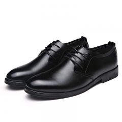 Business Men's Basic Flat Leather Gentle Wedding Dress Shoes Luxury Brand Formal Wearing British black 43