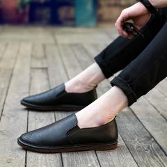 Black Orange Man Casual Shoes Big Size Leather Shoes Good Quality Male PU Shoes Fit Spring Autumn black 39