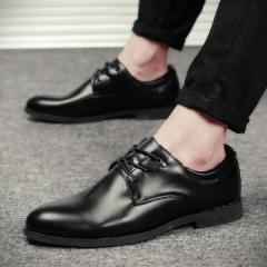 Men Business Shoes Man Luxury Leather Derby Shoes Men's Flat Oxfords Casual Shoe black 39