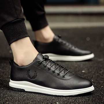 Summer Casual Sport Shoes Men Leather shoes Walking running shoes black 39