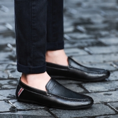 2017 Men Casual Leather Loafers Breathable Spring Blue Leather Driving Slip on Men Loafers Flats black 39