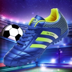 Outdoor soccer shoes Athletic Training Soccer cleats  Kids men women spike football boots blue 39