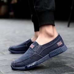 Hot Sale Vintage Denim Men Canvas Shoes Men Shoes Spring Male Casual Shoes Loafers Men's shoes Flats blue 43