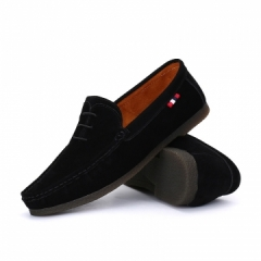Brand Men Shoes Top Sider Winter Men Suede Loafers Slip-on Moccasins Soft Warm Flat Driving black 39