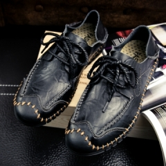 Luxury Brand Summer Men Shoes Genuine Leather Big Size Men Driving Shoes Quality black 39