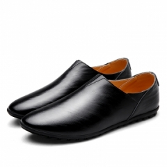 2017 Urban Men Leather Slippers Handmade Men Dress Shoes Comfortable Soft Driving Business Slipper white 43