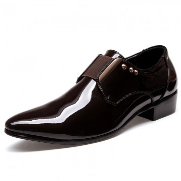 Elegant Men Dress Shoes Patent Leather Black Wedding Flats Pointed Toe Shining Metalic Big Size brown 45