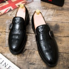 2017 New Arrival Men Luxury Brand Flats Formal Dress Single Monk Buckle Straps Wedding Brogues Shoes black 39