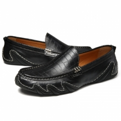 Retro Men Casual Shoes Italian Loafers Classic Elegant Dress Shoes Male Loafers Soft Lightweight black 43