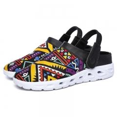 Clogs Men Beach Slippers Summer Rubber Sandals Hole Shoes Mules Flip Flops Garden Fashion Eva yellow 44