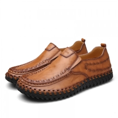 Fashion British Style Men Causal Shoes Genuine Leather Slip On Men Shoes Outdoor Shoes brown 39