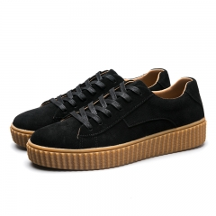 Men Casual Sports Sneakers Comfortable Flat Shoes Creepers Suede Leather Shoes black 39