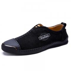 2017 New Comfortable Casual Shoes Loafers Men Shoes Split Leather Men Flats Hot Sale Moccasins Shoes black 39