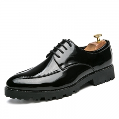 Elegant Men Dress Shoes Shadow Patent Leather Fashion Men Oxford Shoes black 39