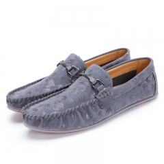 Fashion Men Mixed Colors Casual Shoes Round Toe Pattern Slip On Flats Man Leisure Shoes grey 39