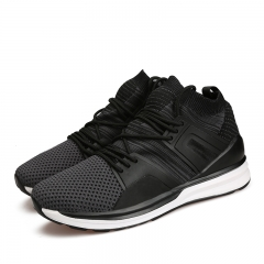 New 2017 Autumn Winter Men's Casual Shoes High Top Sneakers Lace up Running Jogging Sports Shoes black 39